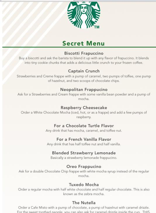 Secret Recipe Menu Drinks
