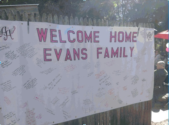 A welcome back for the Evans Family