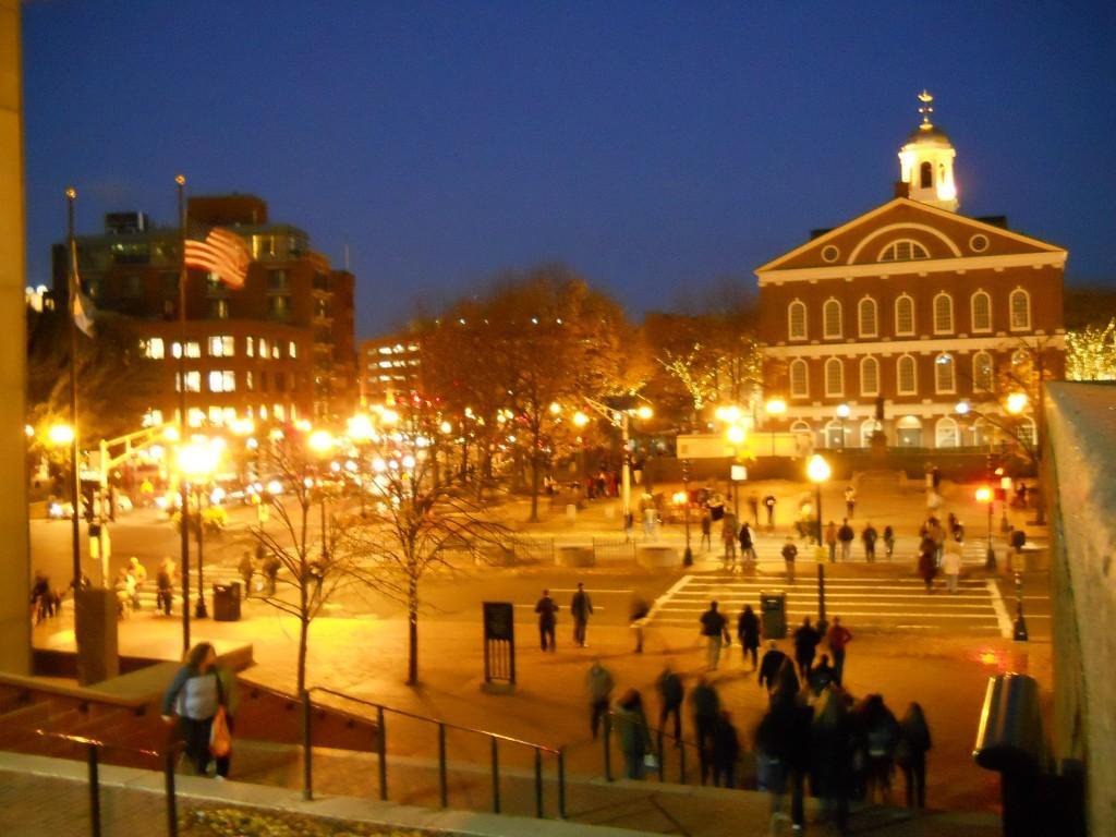 Boston town hall at dusk on Friday night.