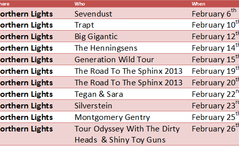 List of Upcoming Concerts